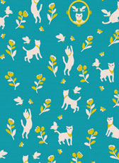 """cat & bird"" for Fabric ""Cotorienne"""